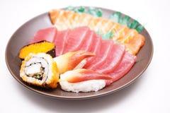 Japanse voedselsushi en Sashimi Stock Foto's