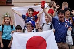 Japanse voetbalventilators in Heilige Petersburg tijdens de Wereldbeker Rusland 2018 van FIFA Royalty-vrije Stock Foto's