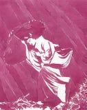 Japanse vrouw onder de regen - watercolour Royalty-vrije Stock Afbeelding