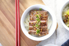 Japanse Yakiniku met rijst Stock Afbeelding