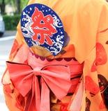 Japanse Yukata met een handventilator royalty-vrije stock afbeeldingen