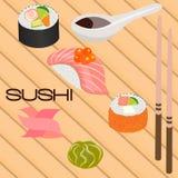 Japanse zeevruchtensushi, broodje en eetstokjes Stock Afbeeldingen