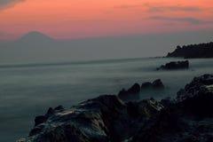 Japansk ö & Mount Fuji arkivfoto