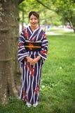 Japansk asiatisk kvinna i kimono Royaltyfri Foto