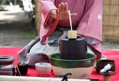 Japansk ceremoni för grönt te Arkivbilder