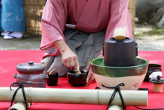 Japansk ceremoni för grönt te Arkivfoton