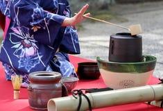 Japansk ceremoni för grönt te Arkivfoto