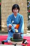 Japansk ceremoni för grönt te i trädgård Royaltyfri Foto
