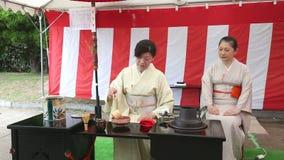 Japansk ceremoni för grönt te i trädgården stock video