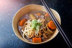 Japansk curry med udonnudeln royaltyfria bilder