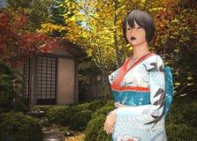 Japansk dam i en teträdgård royaltyfri illustrationer