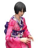 Japansk dam i kimono vektor illustrationer
