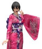 Japansk dam i kimono royaltyfri illustrationer