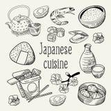 Japansk dragen bakgrund för mat hand Japan traditionell kokkonst Klotter för översikt för meny för sushistång royaltyfri illustrationer