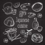 Japansk dragen bakgrund för mat hand Japan traditionell kokkonst Svart tavla för meny för sushistång stock illustrationer