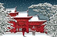 Japansk eller kinesisk tempel under snö Arkivfoton