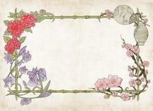 Japansk färgrik blom- ram, på pergament Royaltyfri Bild