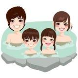Japansk familj Onsen Royaltyfri Foto