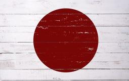 Japansk flagga som målas på ett träbräde Royaltyfri Foto