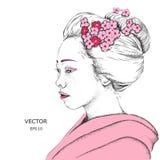 Japansk flicka i traditionella kläder geisha också vektor för coreldrawillustration Arkivbilder