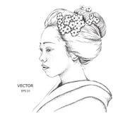 Japansk flicka i traditionella kläder geisha också vektor för coreldrawillustration Royaltyfri Foto