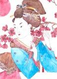 Japansk flicka, vattenfärg Arkivfoton