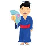 Japansk flickavektorillustration Royaltyfri Bild