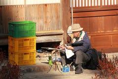 Japansk gamal man Arkivfoto