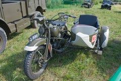 Japansk gammal militär Rikuo motorcykeltyp 97 (en kopia av Harley-Davidson) på det 3rd internationella mötet av Royaltyfri Foto