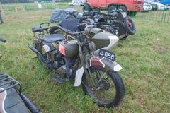 Japansk gammal militär Rikuo motorcykeltyp 97 (en kopia av Harley-Davidson) på det 3rd internationella mötet av Fotografering för Bildbyråer