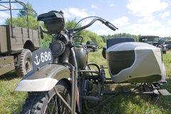 Japansk gammal militär Rikuo motorcykeltyp 97 på det 3rd internationella mötet av Arkivbilder