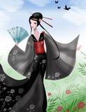 Japansk Geisha med ventilatoren Arkivbild