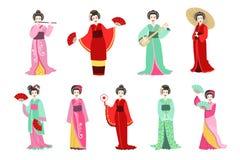 Japansk GeishaIn Different Kimono uppsättning stock illustrationer