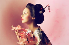 Japansk geishakvinna Arkivfoton