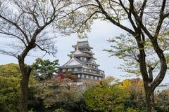 Japansk höstfärg av den Okayama slotten i Okayama, Japan Fotografering för Bildbyråer