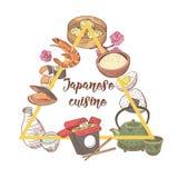 Japansk hand dragen matdesign Japan traditionell kokkonst Meny för sushistång vektor illustrationer