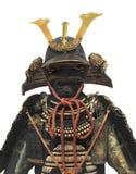 Japansk isolerade samuraikrigarehjälm och armor Arkivfoton