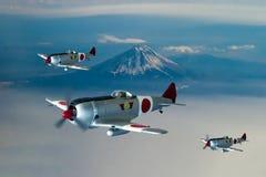 Japansk kämpe av tappning WW2 Digital illustration arkivfoton