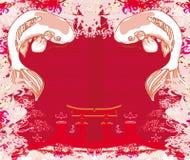 Japansk koi och forntida byggnad - abstrakt ram Royaltyfri Foto