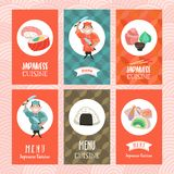 Japansk kokkonst En uppsättning av mallar av menyn av en japan r royaltyfri illustrationer