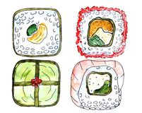 Japansk kokkonst - fyra olik sushi Rolls vektor illustrationer