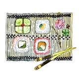 Japansk kokkonst - fyra typer av sushirullar, ingefäran, wasabi och pinnar på en bambuservett stock illustrationer