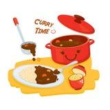 Japansk kokkonst Gulliga curryris med Misosoppa vektor illustrationer