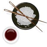 Japansk kokkonst, illustration av ris Donburi/bunke/kopp och soya royaltyfri illustrationer