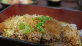 Japansk kokkonst Katsudon arkivfilmer