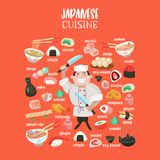 Japansk kokkonst Japansk kock Uppsättning av japansk traditionell dis stock illustrationer