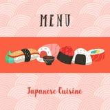 Japansk kokkonst Japansk kock Uppsättning av japansk traditionell dis vektor illustrationer