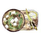 Japansk kokkonst - misosoppa och pinnar på ett träbräde stock illustrationer