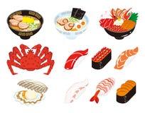 Japansk kokkonst- och skaldjuruppsättning royaltyfri illustrationer
