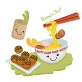 Japansk kokkonst Ramen och Tako Yaki vektor illustrationer